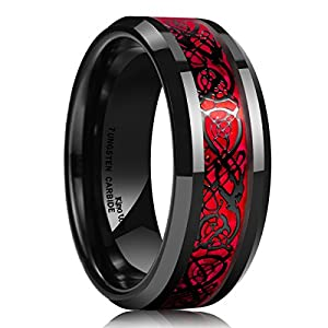 King Will Dragon Men's 8mm Red Carbon Fiber Black Celtic Dragon Tungsten Carbide Ring Comfort Fit Wedding Band