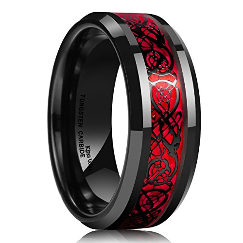 King Will Men's 8mm Red Carbon Fiber Black Celtic Dragon Tungsten Carbide Ring Comfort Fit Wedding Band (10.5) ()