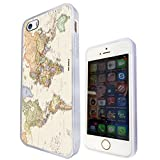 Cool Fun World Map The World Look 178 Design Fashion Trend iPhone 5 5S Case Cover Rubber Gel Silicone & Thin Metal