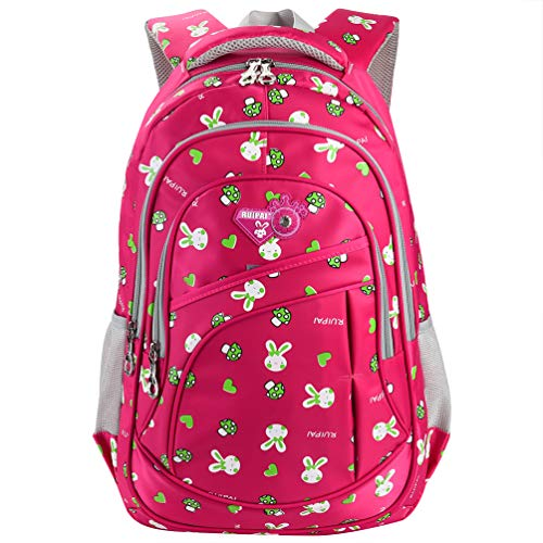 Vbiger Girl's & Boy's Backpack for Middle School Cute Bookbag Outdoor Daypack (Rose Red(bunny))