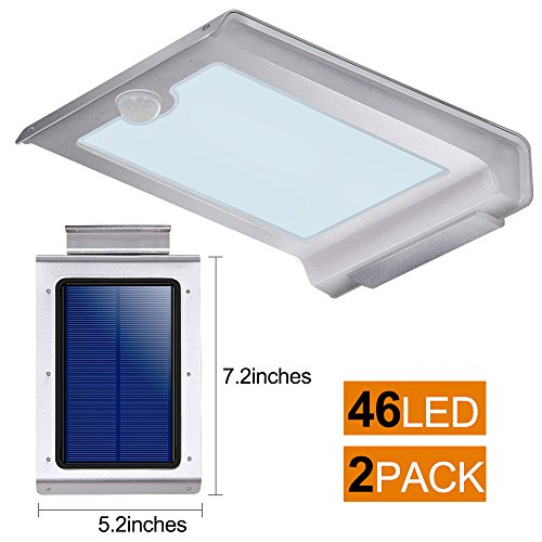 Solar Lights Outdoor,LivEditor 46 LED Solar Motion Sensor Light,Waterproof Wireless Wall Mount Lighting - 2 pack