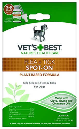Vet's Best Flea & Tick Spot-On Drops | Topical Flea Treatment Drops for Dogs | Flea Killer with Certified Natural Oils | 3-8 Month Supply for Various Dog Sizes (Best Shampoo To Get Rid Of Fleas On Dogs)