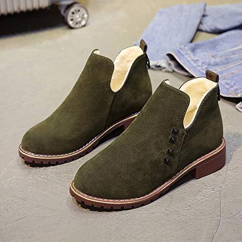 Rivets 36 Marron Daim Qhj Bottes Femmes Green Pour À Bout En Plats Martain Chaussures Enfiler Rond taa6qw