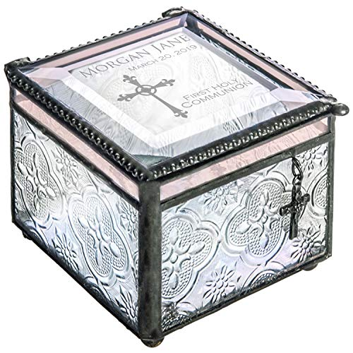 J Devlin Box 631 EB 220 First Holy Communion Keepsake Box Engraved Glass Jewelry Box Trinket Rosary Case ()