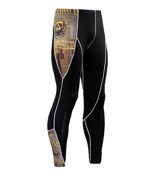Leggins Hombre Deporte Running Fitness Pantalon Moda Calavera Impresión Outdoor Casual Biker Apretados Leotardos… RMZPMYD6nS