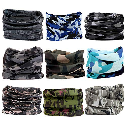 Neck Bandanas Cooling (Headband Headwear Head Wrap Bandana Sport - 6PCS Magic Seamless Scarf Wide Hairbands Elastic Tube Face Mask Neck Gaiter UV Resistence Outdoor Workout (9pcs Camouflage))