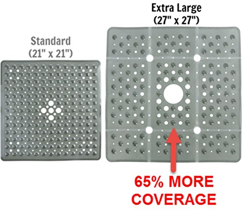 Stall Shower Mat (SlipX Solutions Extra Large Gray Square Shower Mat Provides 65% More Coverage & Non-Slip Traction (27