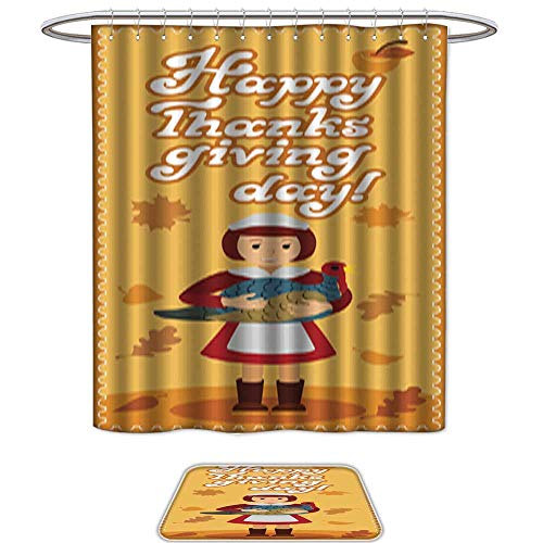 QianHe Set of 2 Shower Curtain and Mat SetHappy Thanksgiving Day Card with Child Leafs and Congratulation lettering7. 12pcs Metal Hook,Bath Mats