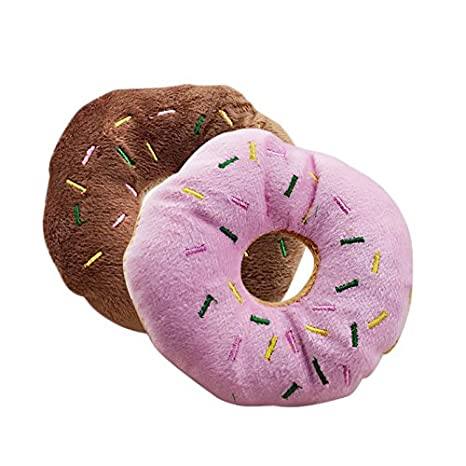 Rose Mackur Squeak Toy Pet Peluche Donut Form Jouet 13 cm 13/cm