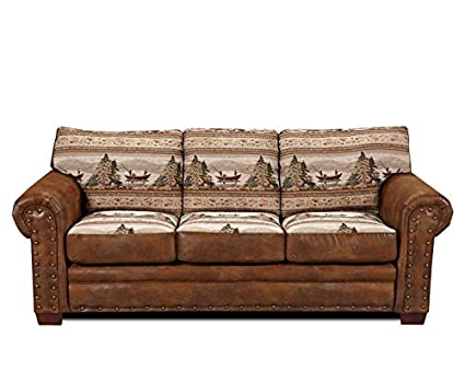 Sofa Beautiful Cottom Tapestry Fabric With Durable Leather Look Microfiber  Seat And Back Cushions Are Filled