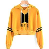SIMYJOY KPOP Korea Pop Suéter Letras Sudaderas con Capucha Crop Top Sudadera Jersey para Niñas y Mujeres
