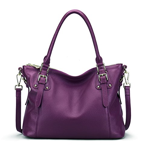 - BIG SALE-AINIMOER Women's Large Leather Vintage Shoulder Bags Handbags Ladies Top handle Purse Cross Body Bag (Purple-STD)