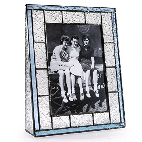 J Devlin Pic 159-57V 5x7 Vertical Stained Glass Photo Picture Frame Clear Vintage Texture Trimmed in Pale Blue Holds 5x7 Portrait Photo