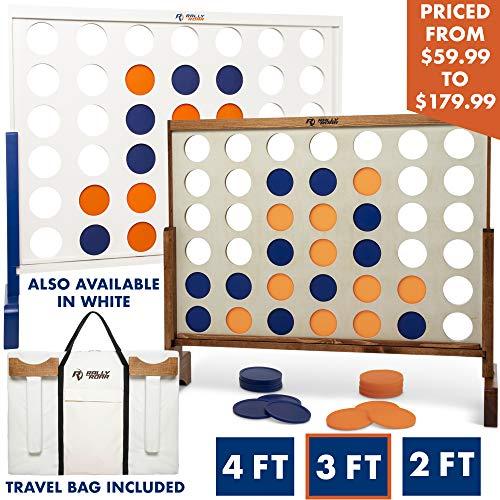 Giant 4 in A Row, 4 to Score with Carrying Bag - Premium Wooden Four Connect Game Set in 3
