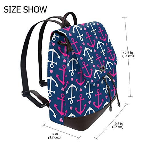Anchors Hearts Navy Pink Fashion Design Leather Backpack For Women Men College School Bookbag Weekend Travel Daypack
