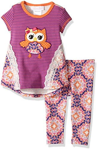 Bonnie Baby Girls Fall Damask Owl Legging Set (0m-24m) (18 months) -