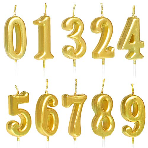 ZZPRO 10 PCS Cake Numeral Candles, Birthday Numeral Candles, Number 0-9 Glitter Cake Topper Decoration for Birthday Favor,Party Celebration