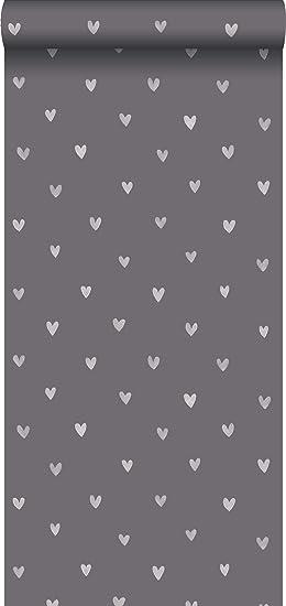 papier peint intissé impression à la craie les coeurs gris foncé ...