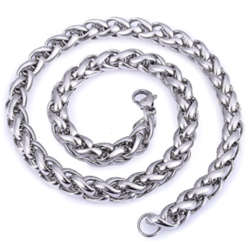 Hermah Mens Chain Necklace Stainless Steel Silver Tone Braided Wheat Link 10mm 26inch Silver Tone Chain Link Necklace