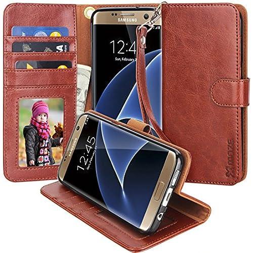 S7 Edge Case, Moze Galaxy S7 Edge Wallet Case [Wrist Strap] [Stand Feature] PU Leather Flip Wallet Case Cover Sales