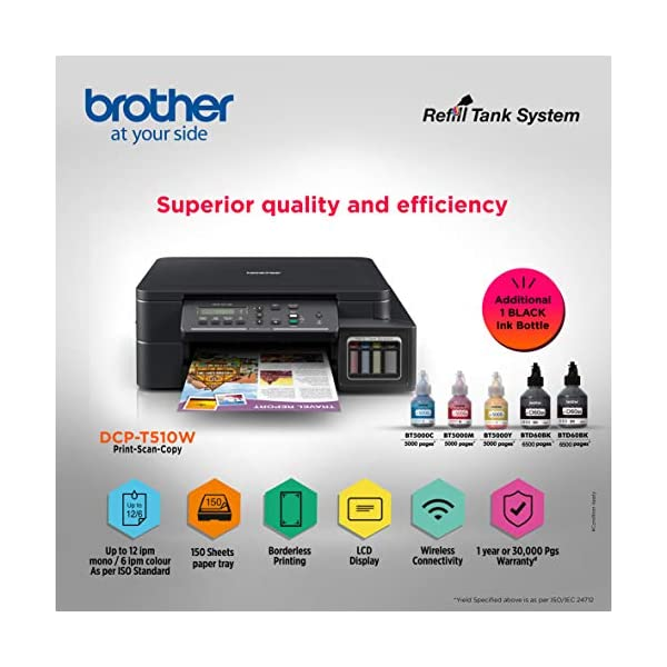 Brother DCP-T510W Inktank Refill System Printer with Built-in-Wireless Technology