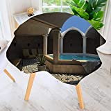 UHOO2018 Table Decoration Durable-Inside View of A Spa Hotel with Bathtub in The Circle Centre Trendy for Home Kitchen Dining roomWaterproof Coffee Tablecloth 71'' Round