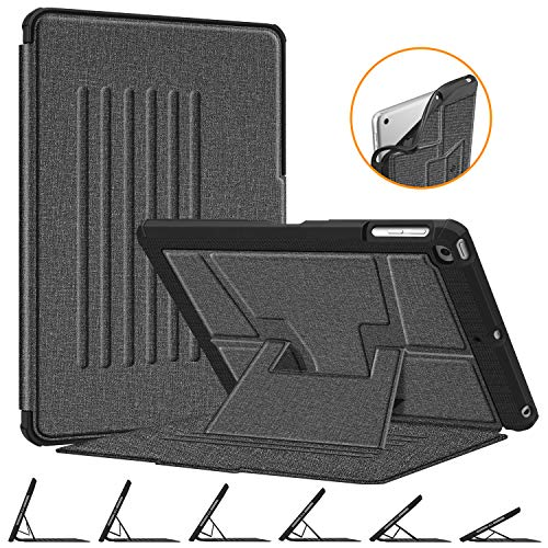 Fintie Magnetic Stand Case for iPad 9.7 2018 2017 / iPad Air 2 / iPad Air 1, [Multiple Secure Angles] Shockproof Rugged Soft TPU Back Cover with Auto Wake/Sleep, Gray