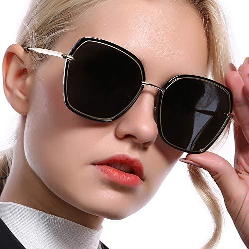 REBSUN Oversized Sunglasses for Women Polarized UV Protection Big Square Black Designer Sunglasses Fashion Women Black