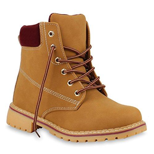 Stiefelparadies Unisex Gefüttert Damen Herren Worker Boots Outdoor Schuhe Profil Sohle Flandell Braun Dunkelrot Bernice