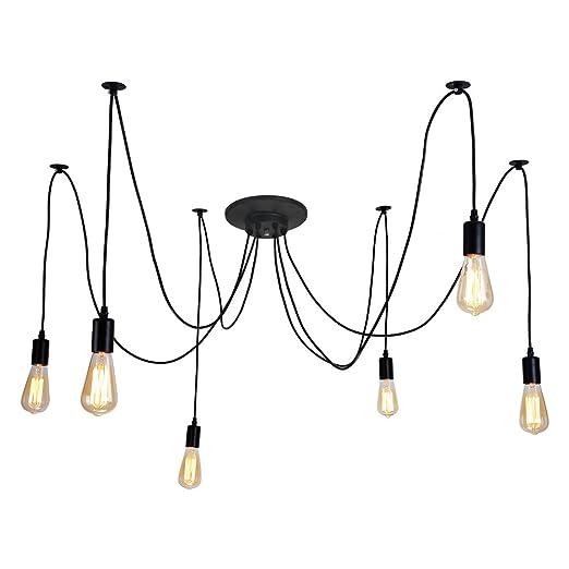 Luminaire Têtes Lustre Antique Douilles Lampe Diy Suspension Vintage Edison Noir E27 Style Alamp Industriel Ampoule À 6 nwmN80v