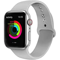 Ontube Bands Compatible with Apple Watch,Soft Silicone Adjustable Sport Straps for iWatch Series 5/4/3/2/1 (38MM/40MM, Cloudy Gray)