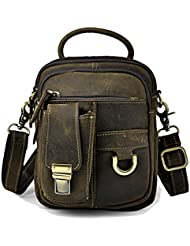 Leaokuu Mens Leather Fashion Casual Sling Messenger Shoulder Bag Designer Heavy Duty Hiking Fanny Waist Belt...