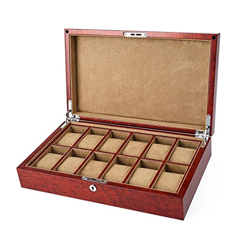 (Wooden Watch Box 12 Grids Watch Case Storage Boxes Display Bracelet Tray with Lock Flannel Liner and Piano Lacquer Camphor Burl Wood 36228.5cm Red )