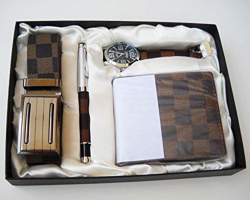 Estuche de regalo para hombre: Incluye reloj, bolígrafo, cartera y cinturón; Juego para graduación, marrón: Amazon.es: Deportes y aire libre