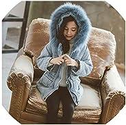 Denim Jacket Children Plus Thick Velvet Jacket Fur Hooded Warm Jeans Coat Cotton Outwear for Girl