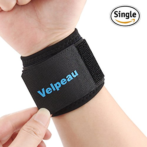 Wrist Brace - Compression Wrist Strap Support for Carpal Tunnel, Arthritis, RSI, TFCC Tear, Weight Bearing Strain, Tendonitis and Sprains for Weak and Sore Wrists by Velpeau (Adjustable, Black) - Carpal Tunnel Wrap