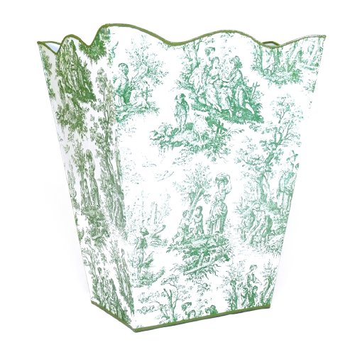 Vintage French Toile Wastebasket, Trashcan, Trash Holder Basket or Bin ~ E69 Wave Edge Vintage Green Toile Metal Waste Basket with French Toile Pattern
