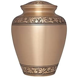 Funeral Urn - Gold Cremation Urn for Human Ashes - Hand Made in Brass and Hand Engraved - Large Size Fits Cremated Remains of Adults - Burial Urn (Tropez Model)