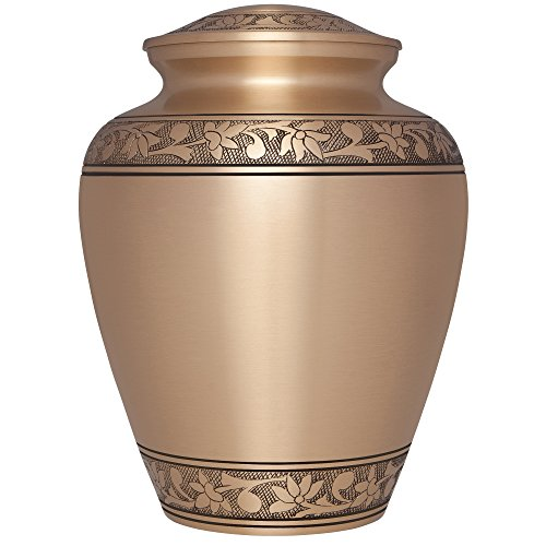 Bronze Funeral Urn by Liliane Memorials - Cremation Urn for Human Ashes - Hand Made in Brass - Suitable for Cemetery Burial or Niche - Large Size fits remains of (Brass Bronze Urn)