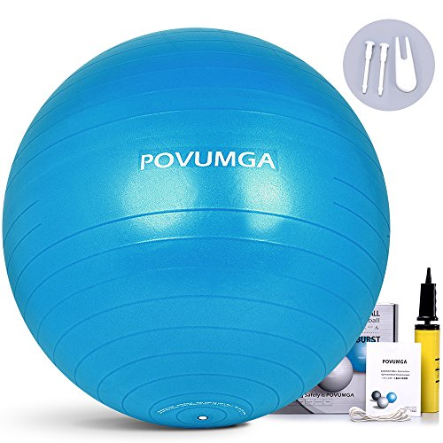 POVUMGA Exercise Ball Heavy Duty Anti-Burst Fitness-Birthing-Stability-Core-Pilates-Gym Balls for Being pregnant, Balance Ball for Desk Chair 55/65/75/cm MultiColor with Hand Pump – DiZiSports Store