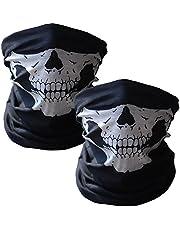 WOVTE Skull Headwear Seamless Motorcycle Bandanas Black (2 Packs)