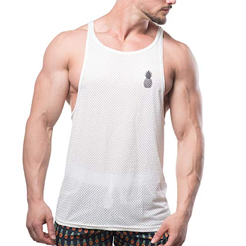 Men's Mesh Tank Top Open Cut Stringer Festival Vest,White,Small