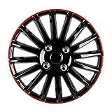 "SODIAL(R) 14"" Car Wheel Trims Hub Caps Plastic Covers Universal Black red"