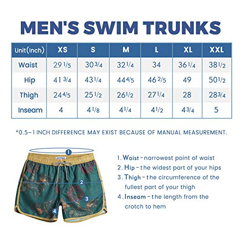 MaaMgic Mens Boys Short 80s 90s Vintage Swim Trunks with Mesh Lining Quick Dry Swim Suits Board Shorts