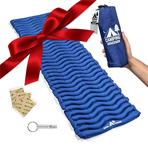 Camping Mat Inflatable Sleeping Pad - Compact and Lightweight, Perfect for Backpacking - Ultralight Air Mattress Engineered for Support & Sleep Comfort – with Bonus Survival Whistle (Admiral Blue)