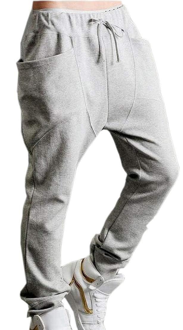 GenericMen Elastic Waist Pocketed Drawstring Solid Leisure Jogging Pants