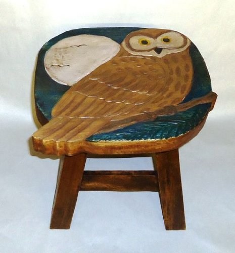 Carved Footstool - Hoot Owl Hand Carved Wooden Foot Stool