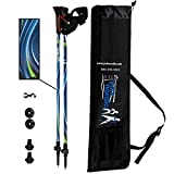 York Nordic Blue Breeze Design Hiking & Walking Poles - Lightweight, Adjustable, and Collapsible - w/flip Locks, Detachable feet and Travel Bag - Pair