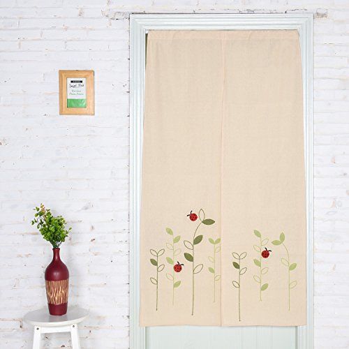 Noren Japanese Doorway Curtain 59 By 33 Inch, Home Decorative Long Type Tapestry Doorway Curtain by Jennice House(Ladybugs) (Push Pins Lady Bug)