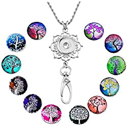 Souarts Womens Office Lanyard ID Badges Holder Necklace with 12pcs Snap Charms Jewelry Pendant Clip (Life Tree)